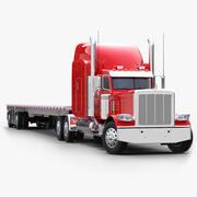 Flatbed Semi-trailer Truck V2 3d model