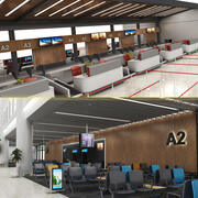 Check-in in aeroporto, Gates, Waiting Arena Collection 3d model