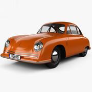 Porsche 356 kupé med HQ interiör 1948 3d model