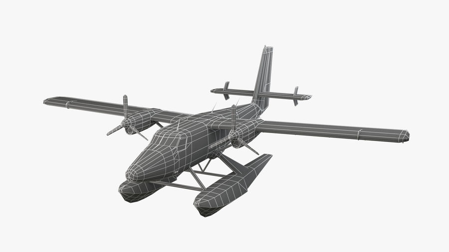 De Havilland DH-6 royalty-free 3d model - Preview no. 10