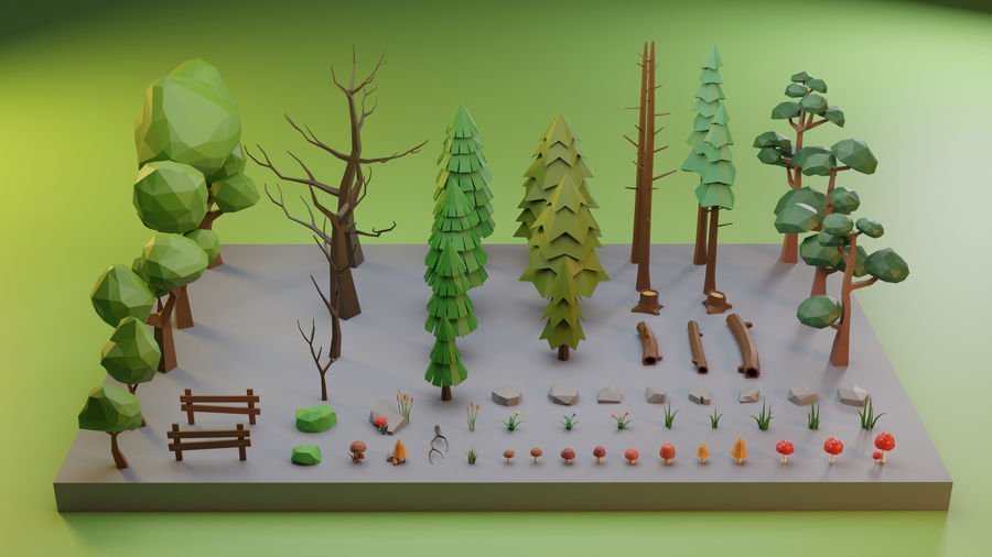 Low Poly Trees Grass and Rocks royalty-free 3d model - Preview no. 5