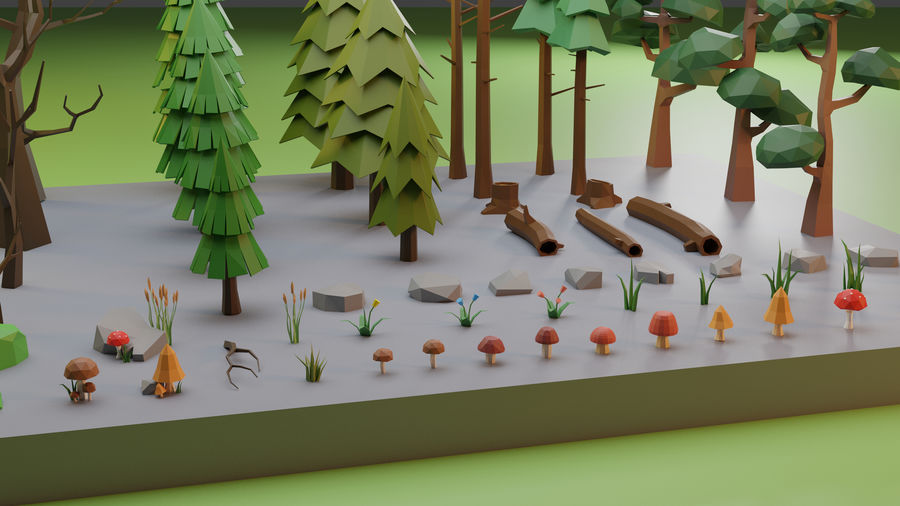 Low Poly Trees Grass and Rocks royalty-free 3d model - Preview no. 2
