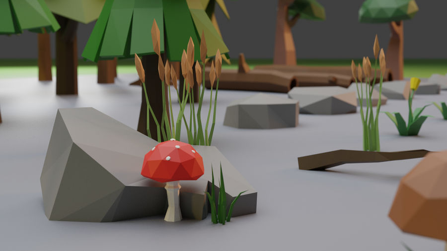 Low Poly Trees Grass and Rocks royalty-free 3d model - Preview no. 3