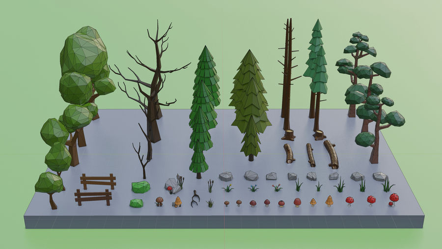 Low Poly Trees Grass and Rocks royalty-free 3d model - Preview no. 6