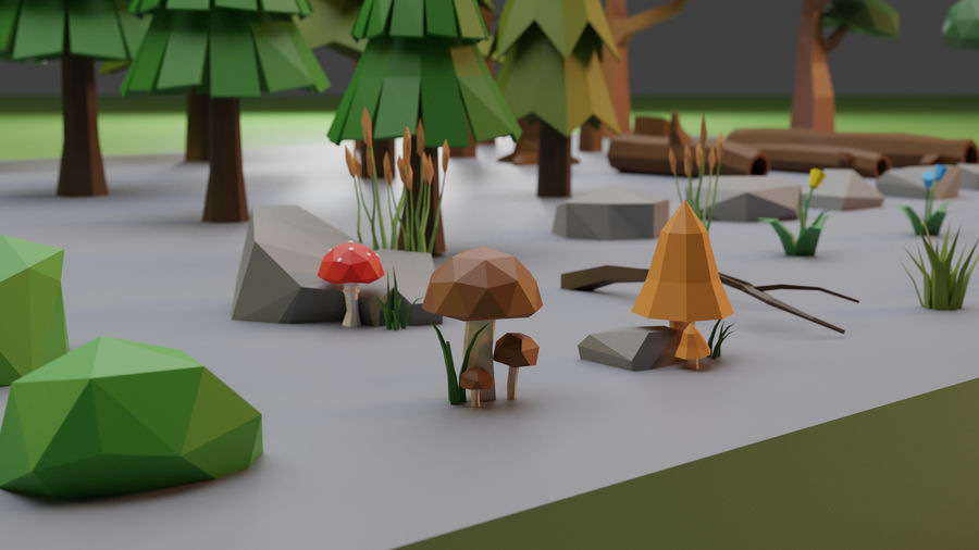 Low Poly Trees Grass and Rocks royalty-free 3d model - Preview no. 4