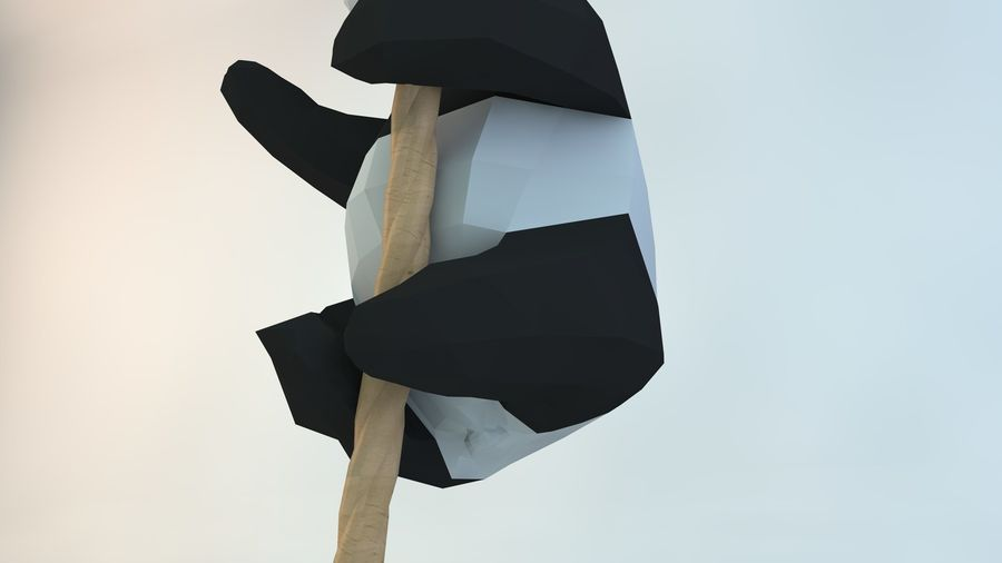 Lowpoly Cute Panda with Rope Low-poly model do wydruku 3D royalty-free 3d model - Preview no. 7