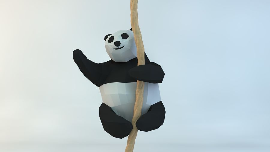 Lowpoly Cute Panda with Rope Low-poly 3D print model royalty-free 3d model - Preview no. 2
