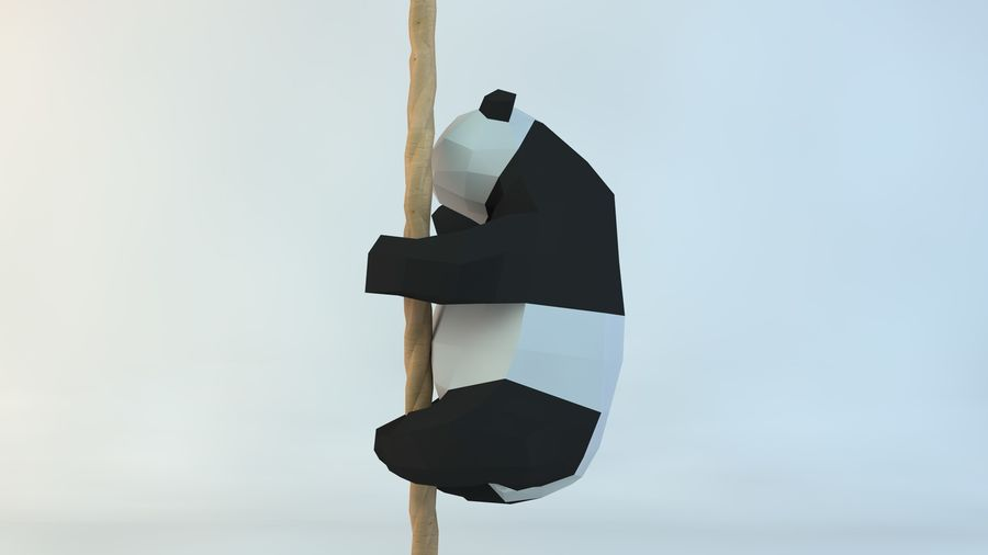 Lowpoly Cute Panda with Rope Low-poly 3D print model royalty-free 3d model - Preview no. 5