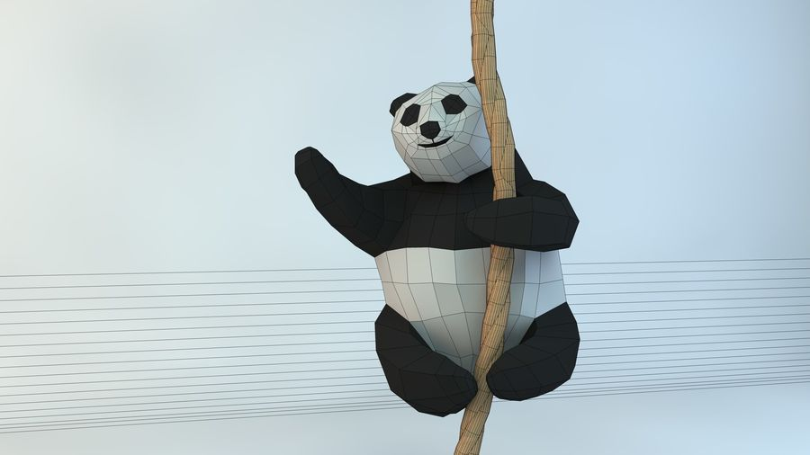 Lowpoly Cute Panda with Rope Low-poly model do wydruku 3D royalty-free 3d model - Preview no. 9