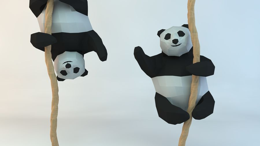 Lowpoly Cute Panda with Rope Low-poly 3D print model royalty-free 3d model - Preview no. 1