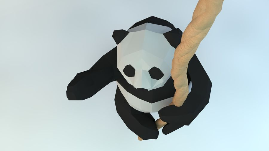 Lowpoly Cute Panda with Rope Low-poly model do wydruku 3D royalty-free 3d model - Preview no. 8