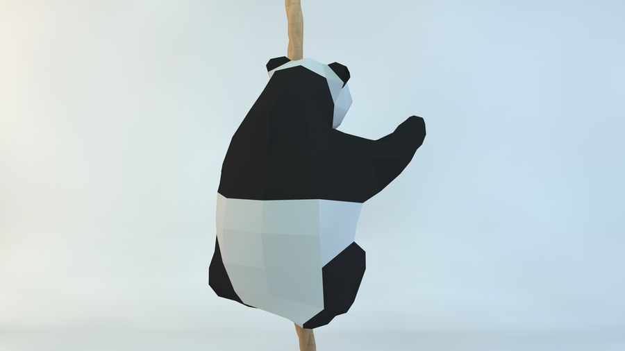 Lowpoly Cute Panda with Rope Low-poly model do wydruku 3D royalty-free 3d model - Preview no. 4