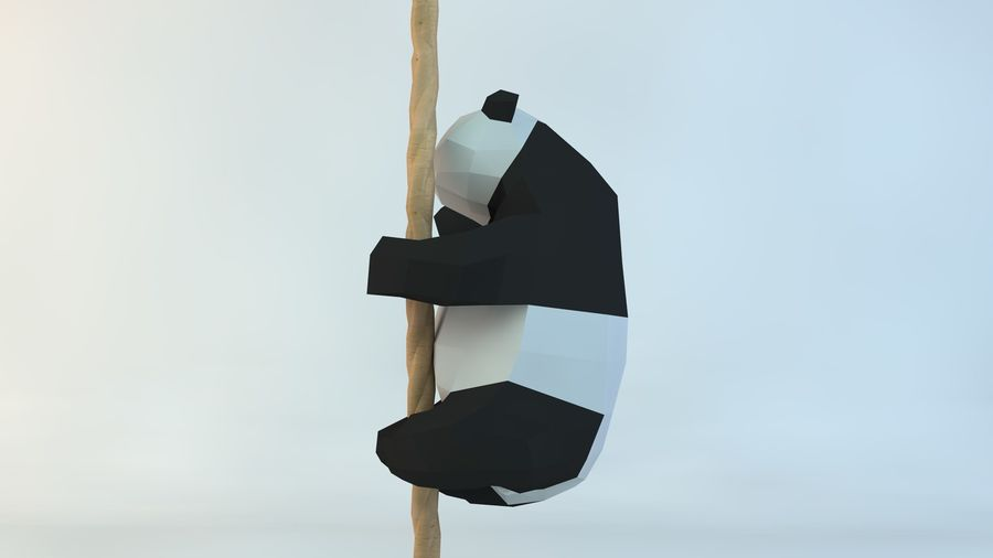 Lowpoly Cute Panda with Rope Low-poly model do wydruku 3D royalty-free 3d model - Preview no. 5