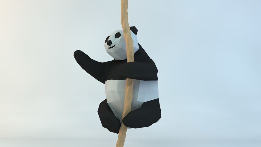 Lowpoly Cute Panda with Rope Low-poly model do wydruku 3D royalty-free 3d model - Preview no. 6