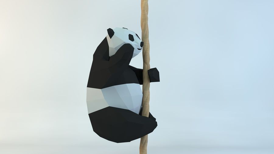 Lowpoly Cute Panda with Rope Low-poly model do wydruku 3D royalty-free 3d model - Preview no. 3