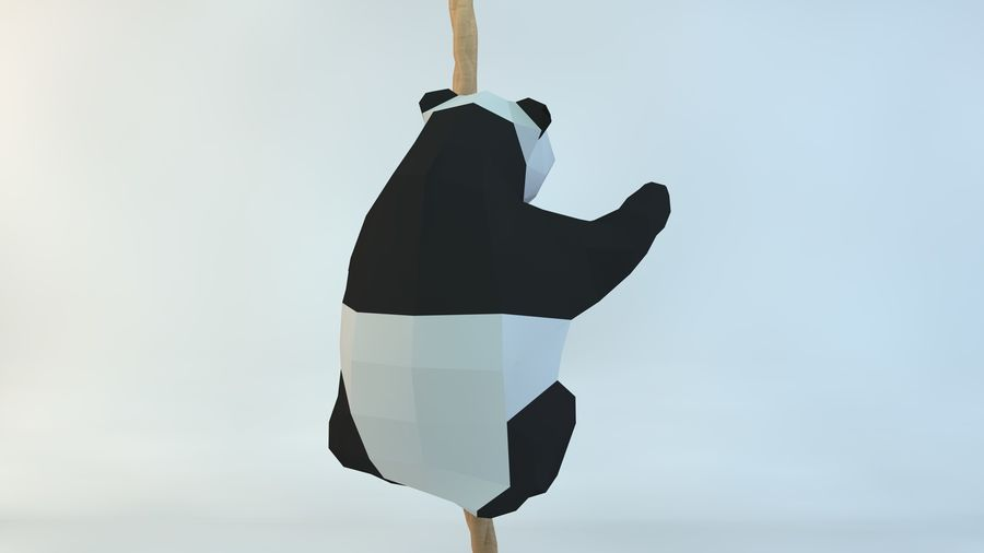 Lowpoly Cute Panda with Rope Low-poly 3D print model royalty-free 3d model - Preview no. 4