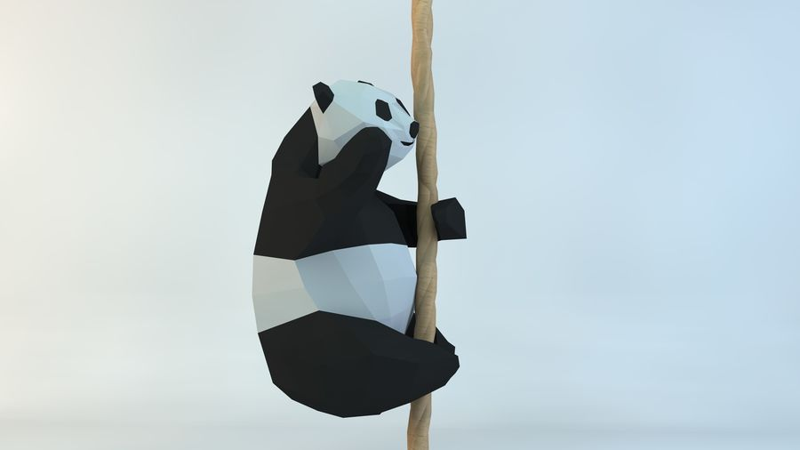 Lowpoly Cute Panda with Rope Low-poly 3D print model royalty-free 3d model - Preview no. 3