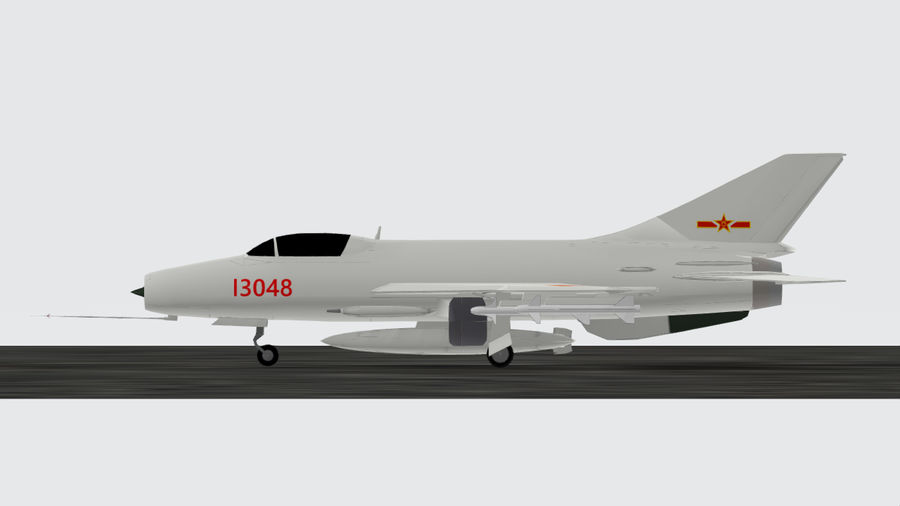 Chengdu F-7A fighter royalty-free 3d model - Preview no. 3