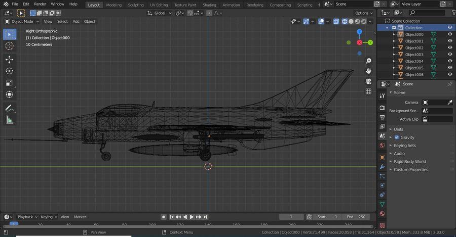 Myśliwiec Chengdu F-7A royalty-free 3d model - Preview no. 6