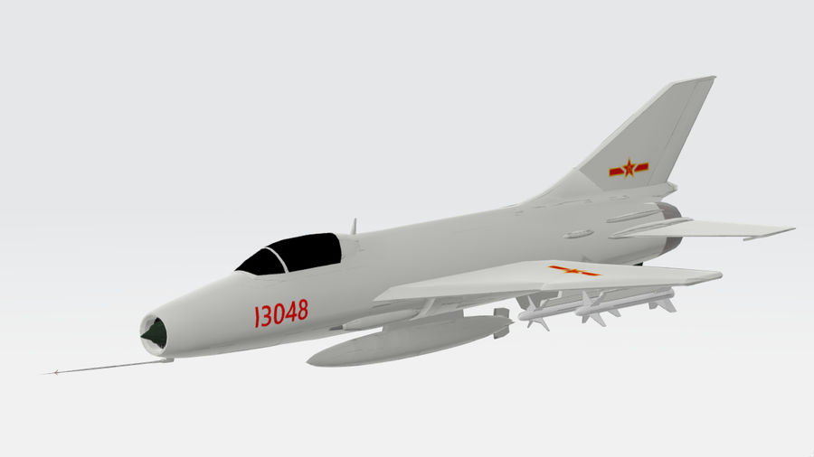 Chengdu F-7A fighter royalty-free 3d model - Preview no. 7