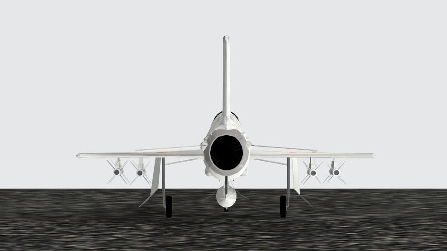 Chengdu F-7A fighter royalty-free 3d model - Preview no. 4