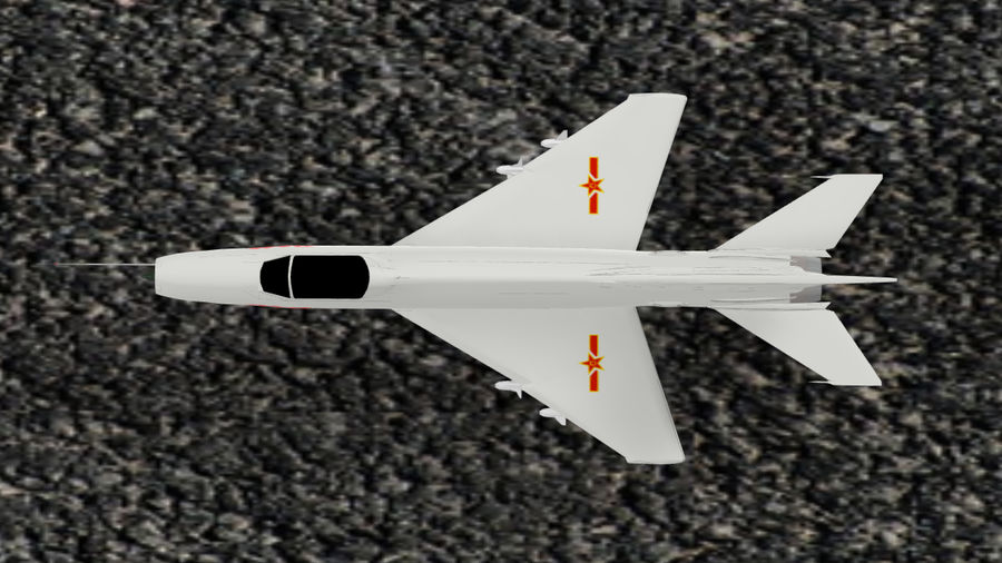 Chengdu F-7A fighter royalty-free 3d model - Preview no. 5
