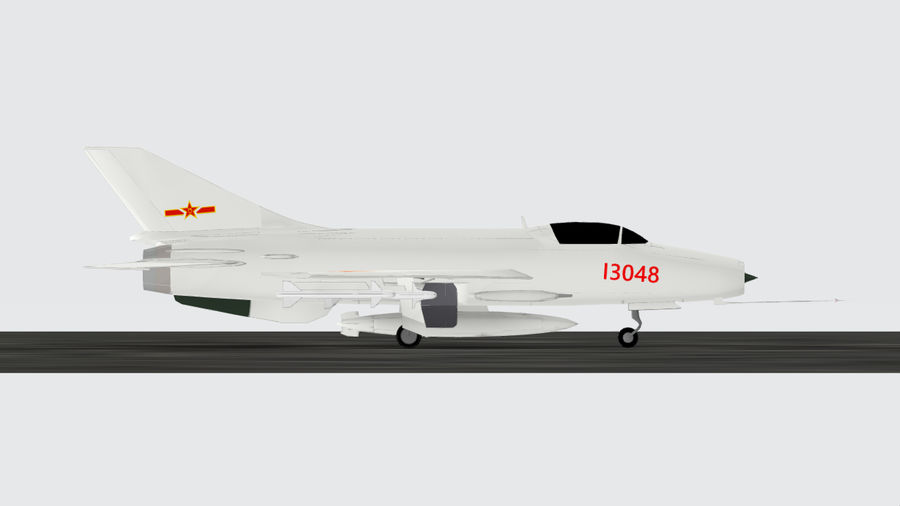 Chengdu F-7A fighter royalty-free 3d model - Preview no. 1