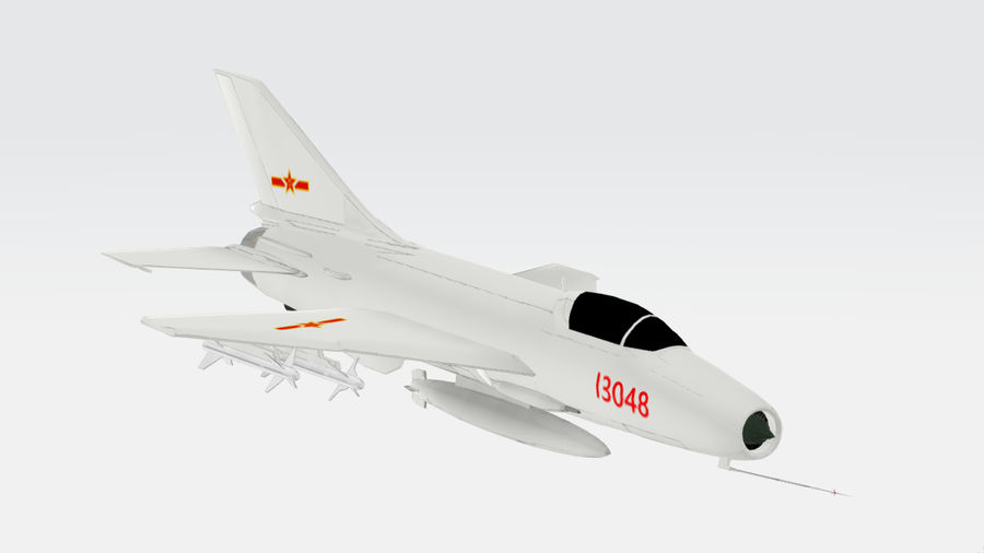 Chengdu F-7A fighter royalty-free 3d model - Preview no. 6