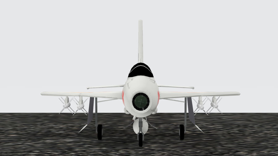 Chengdu F-7A fighter royalty-free 3d model - Preview no. 2