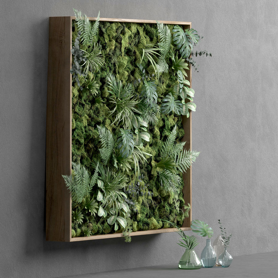 Fyrkantig grön mossuppsättning 150 cm x 150 cm royalty-free 3d model - Preview no. 2