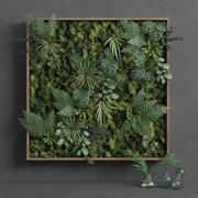 Quadratisches grünes Moos Set 150cm x 150cm 3d model