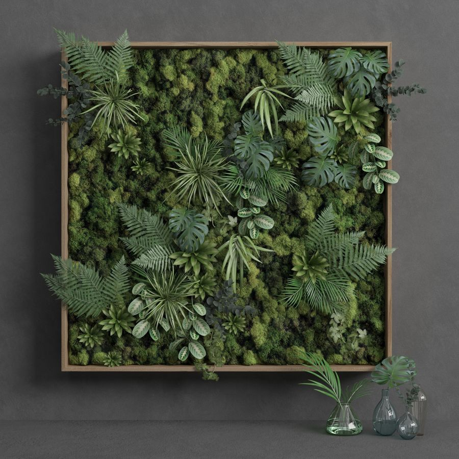Square Green Moss Set 150cm x 150cm royalty-free 3d model - Preview no. 1