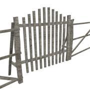 Houten hek en hek 3d model