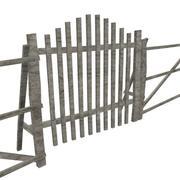 Portão e cerca de madeira 3d model