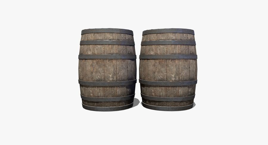 Wooden Barrel royalty-free 3d model - Preview no. 4