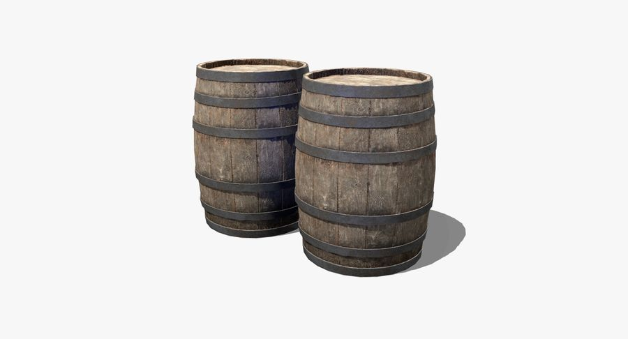 Wooden Barrel royalty-free 3d model - Preview no. 2