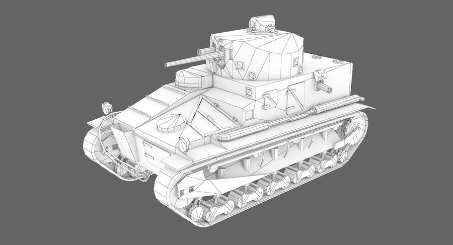 Tank Vickers中号Mark I royalty-free 3d model - Preview no. 8