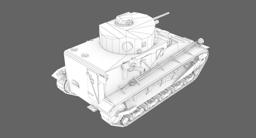 Tank Vickers中号Mark I royalty-free 3d model - Preview no. 10