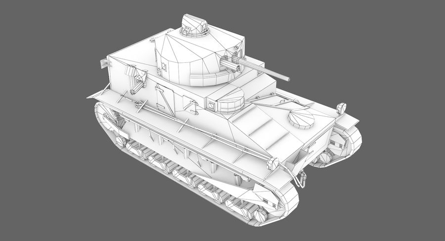 Tank Vickers中号Mark I royalty-free 3d model - Preview no. 11