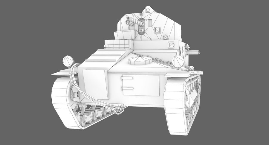 Tank Vickers中号Mark I royalty-free 3d model - Preview no. 12