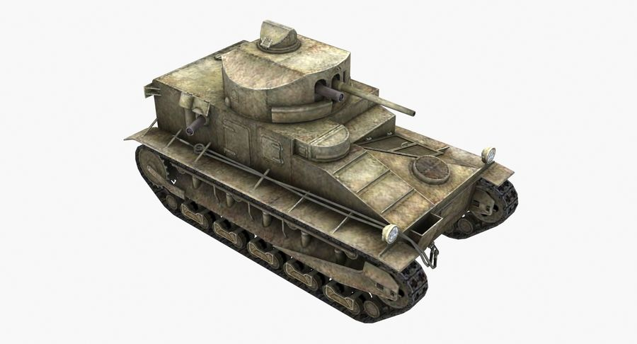 Tank Vickers中号Mark I royalty-free 3d model - Preview no. 5