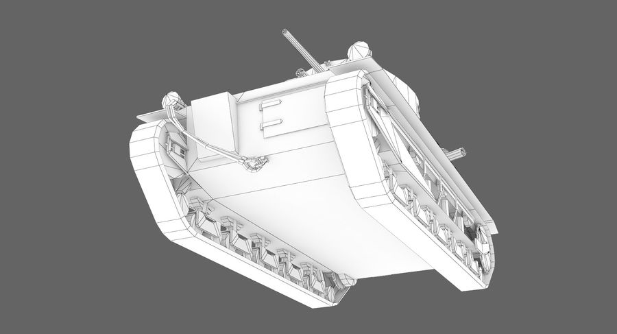 Танк Виккерс Средний Марк I royalty-free 3d model - Preview no. 14