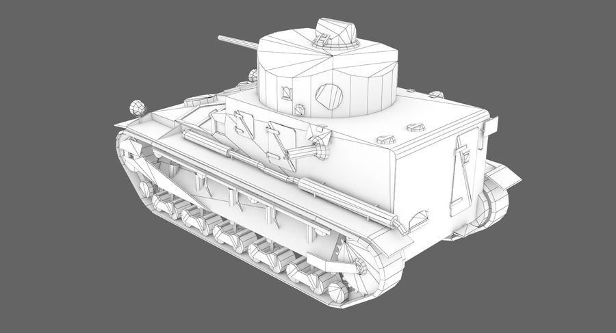 Tank Vickers中号Mark I royalty-free 3d model - Preview no. 9