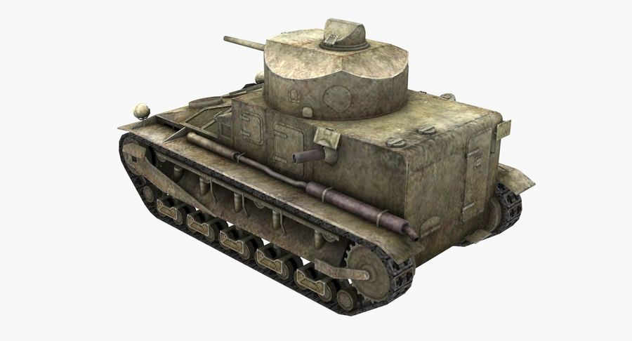 Tank Vickers中号Mark I royalty-free 3d model - Preview no. 3