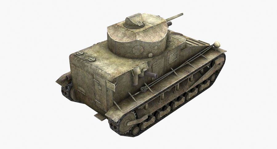 Tank Vickers中号Mark I royalty-free 3d model - Preview no. 4