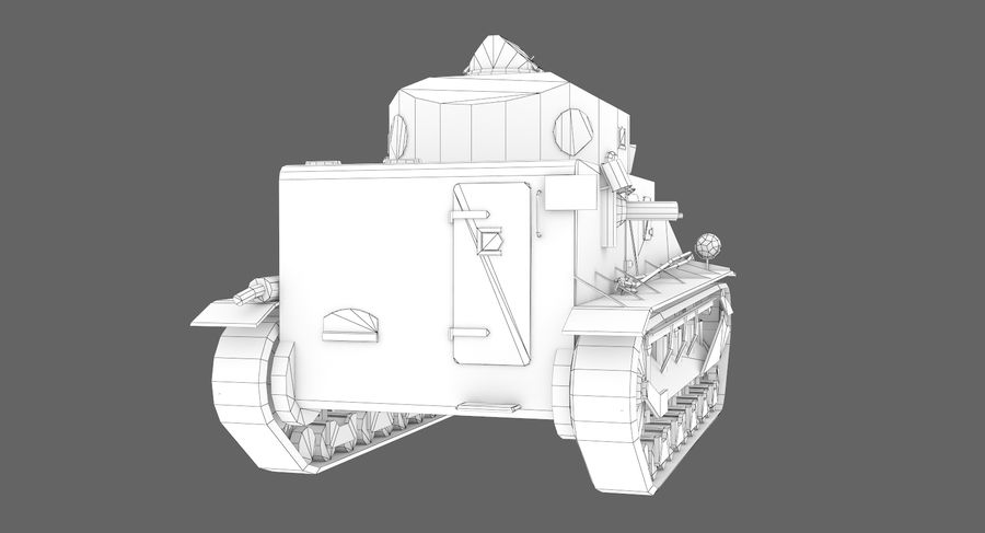 Tank Vickers中号Mark I royalty-free 3d model - Preview no. 13