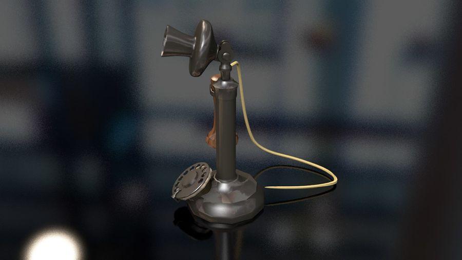 Weinlese-altes Kerzenhalter-Telefon royalty-free 3d model - Preview no. 7