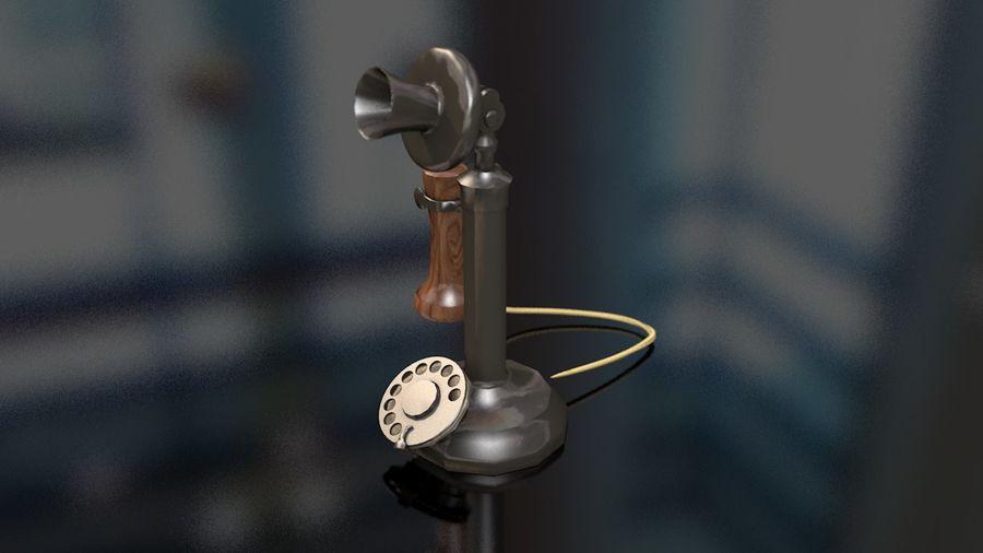 Weinlese-altes Kerzenhalter-Telefon royalty-free 3d model - Preview no. 6