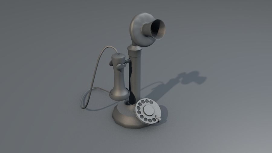 Weinlese-altes Kerzenhalter-Telefon royalty-free 3d model - Preview no. 15