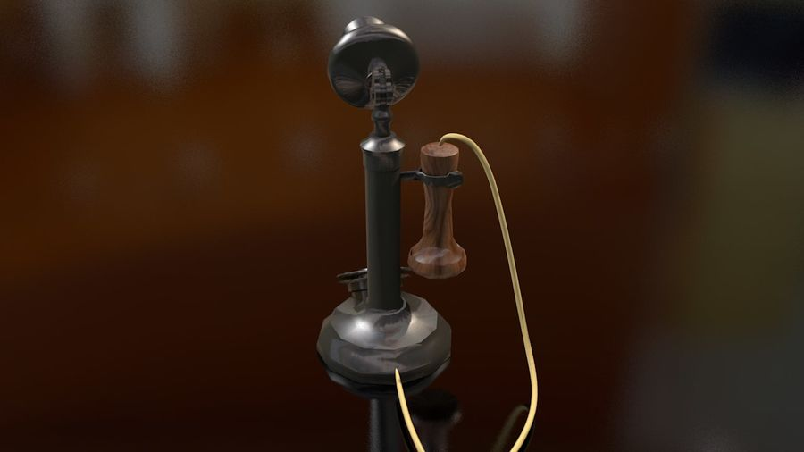 Weinlese-altes Kerzenhalter-Telefon royalty-free 3d model - Preview no. 10